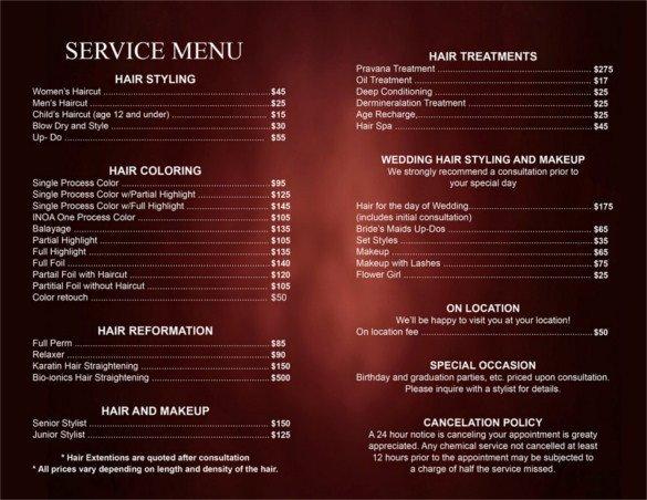 Hair Salon Price List Template 25 Price List Templates Doc Pdf Excel Psd