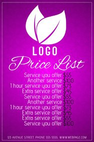 Hair Salon Price List Template 430 Customizable Design Templates for Price List