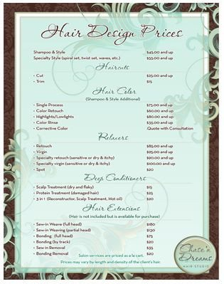 Hair Salon Price List Template 78 Best Images About Salon Pricing On Pinterest