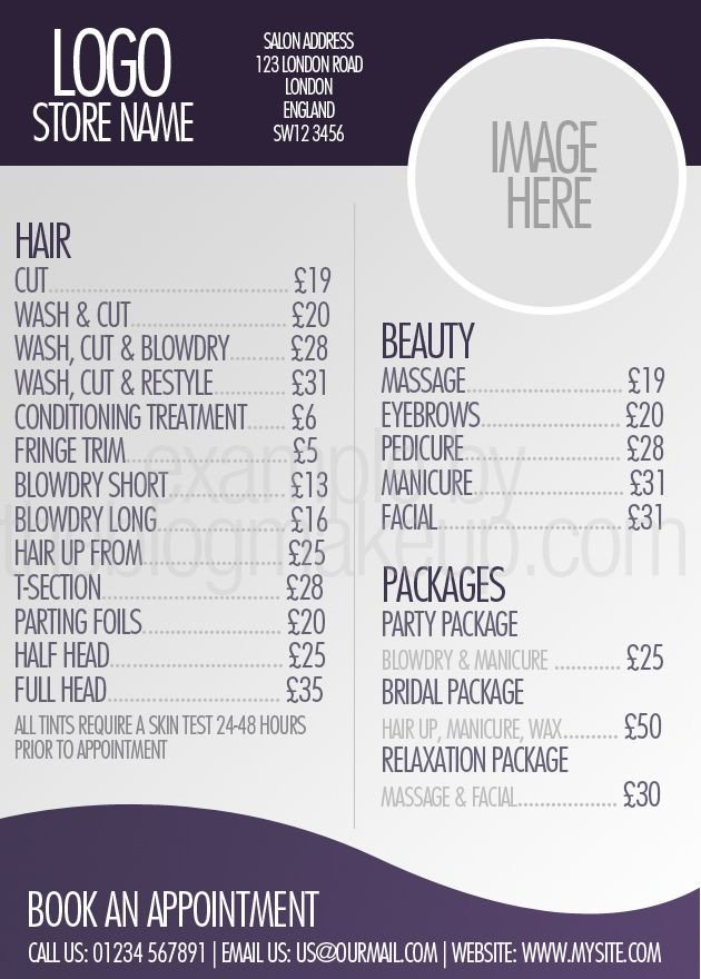 Hair Salon Price List Template Beautifully Designed Menus and Price Lists for Salons