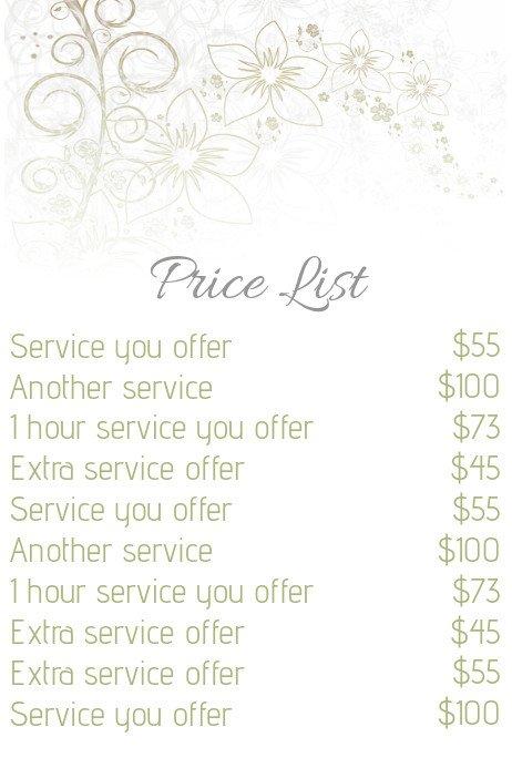 Hair Salon Price List Template Beauty Salon Price List Template