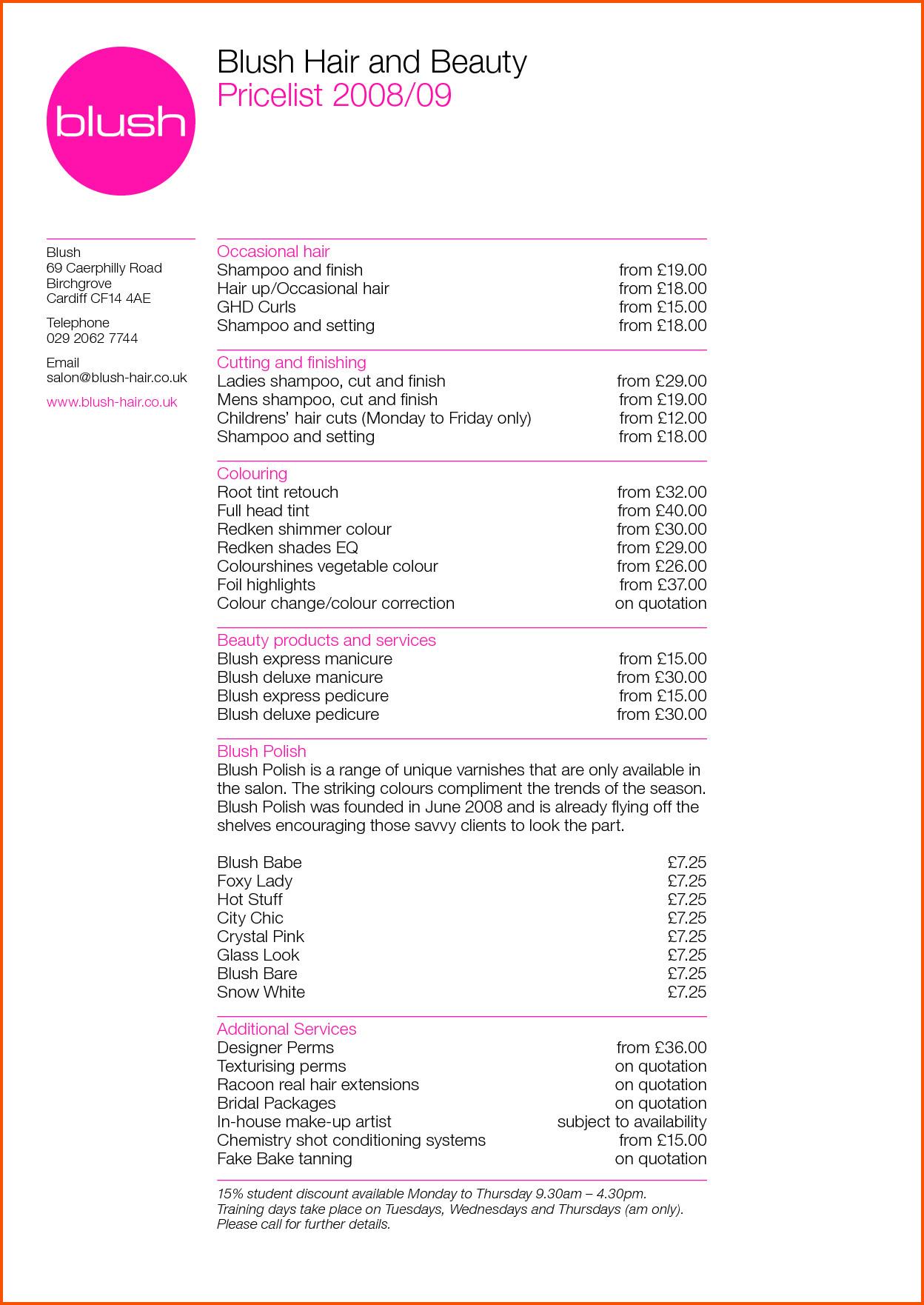 Hair Salon Price List Template Resume Price List