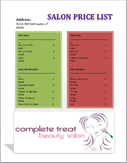 Hair Salon Price List Template Salon Price List Template Templates