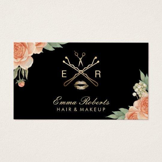 Hair Stylist Business Cards Makeup Artist Hair Stylist Vintage Floral Elegant Business