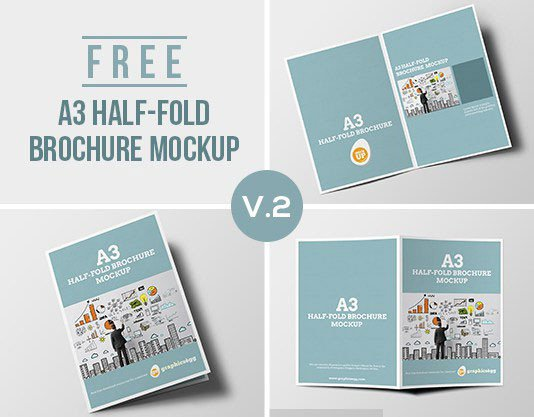 Half Fold Brochure Template 75 Free Brochure Mockup Templates for Your Designs