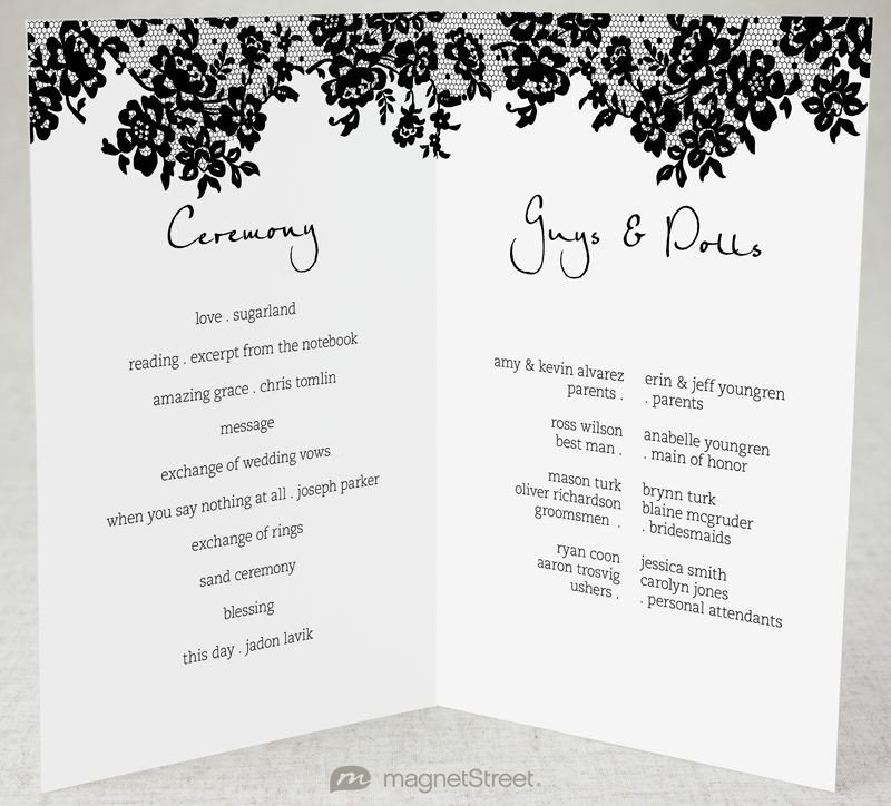 Half Fold Program Template 2 Modern Wedding Program and Templates