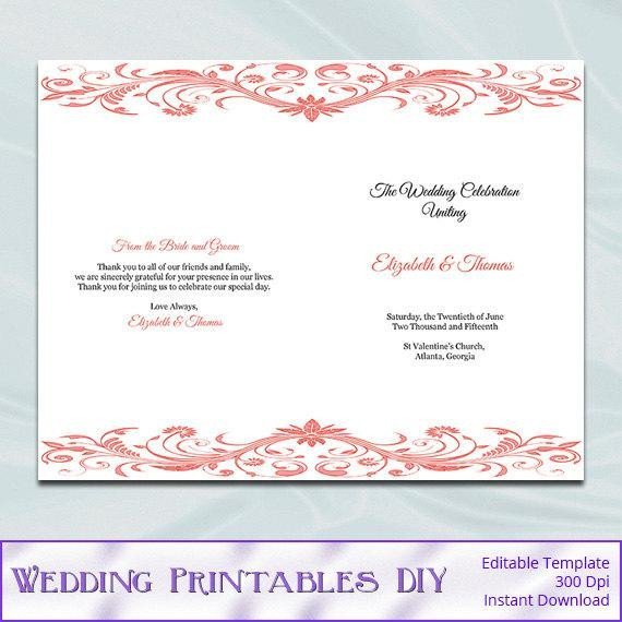 Half Fold Program Template Coral Wedding Program Template Diy by Weddingprintablesdiy