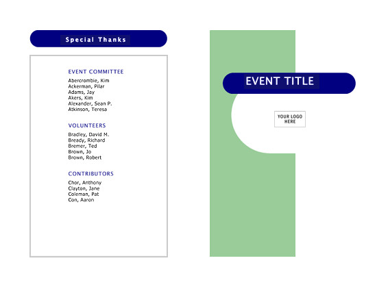 Half Fold Program Template event Program Half Fold 4 Pages