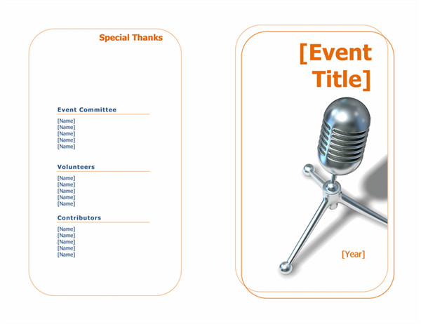 Half Fold Program Template event Program Half Fold