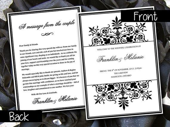 Half Fold Program Template Fold Over Wedding Program Template by Paintthedaydesigns