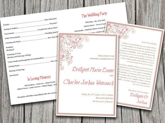 Half Fold Program Template Half Fold Vintage Floral Flourish Wedding Program Template