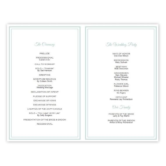 Half Fold Program Template Half Fold Wedding Program Template Brittany Diy by Ajsprints