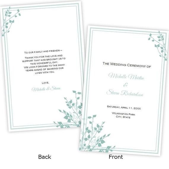 Half Fold Program Template Half Fold Wedding Program Template Brittany