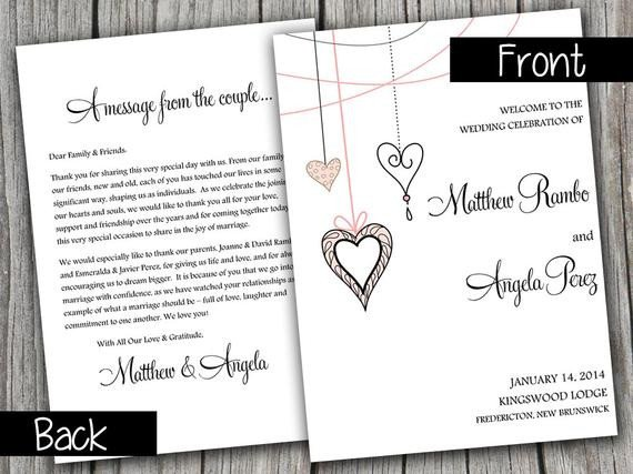 Half Fold Program Template Half Fold Wedding Program Template Heart Strings Blush Pink