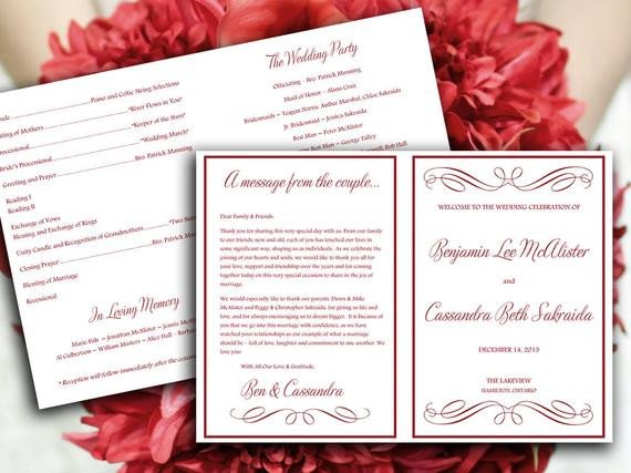 Half Fold Program Template Half Fold Wedding Program Template Microsoft by