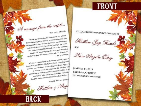 Half Fold Program Template Half Fold Wedding Program Template Microsoft Word Autumn