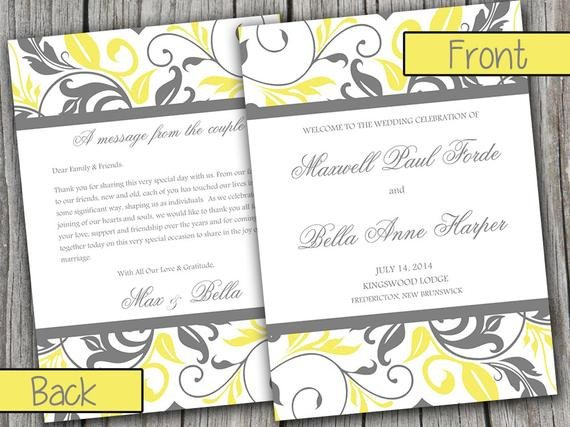 Half Fold Program Template Half Fold Wedding Program Template