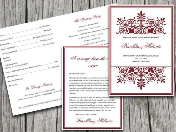 Half Fold Program Template Half Fold Wedding Program Template ornate by