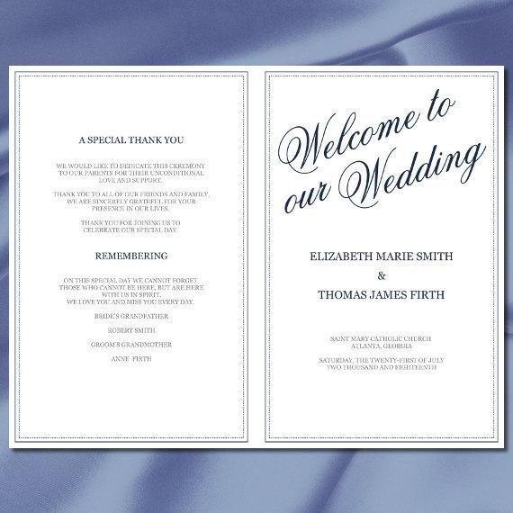 Half Fold Program Template Items Similar to Wedding Program Template Navy Blue