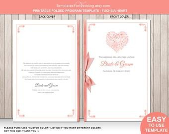 Half Fold Program Template Popular Items for Folded Program On Etsy