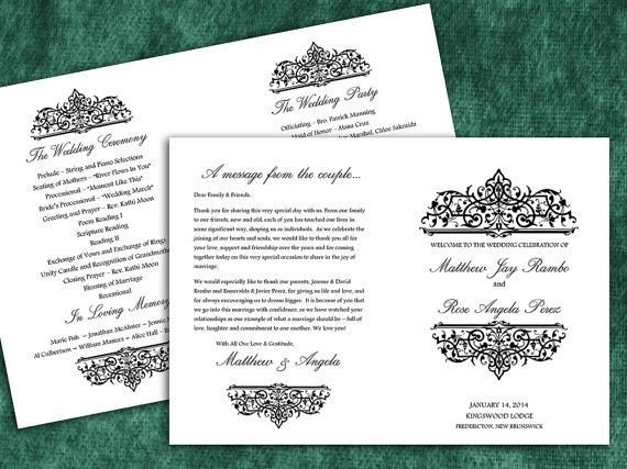 "Half Fold Program Template Printable Black ""cella"" Half Fold Wedding Program Template"