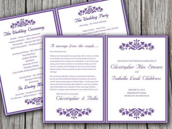 Half Fold Program Template Printable Budding Garden Half Fold Wedding Program