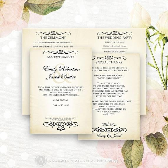 Half Fold Program Template Printable Wedding Programs Editable Half Fold Template