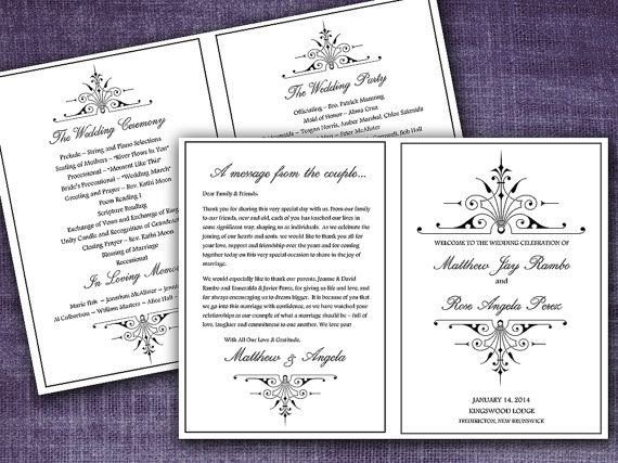Half Fold Program Template Victorian Romance Half Fold Wedding Program Template