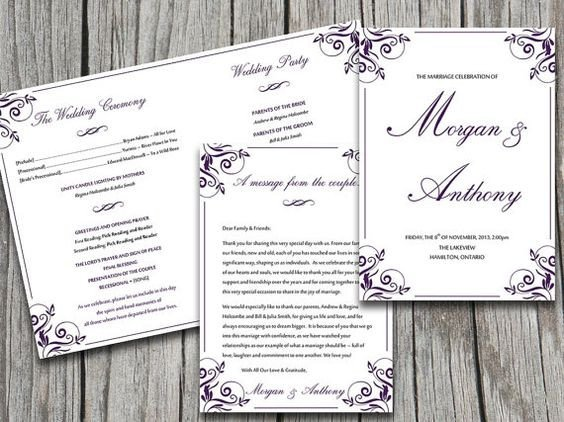 Half Fold Program Template Wedding Program Templates Program Template and Wedding