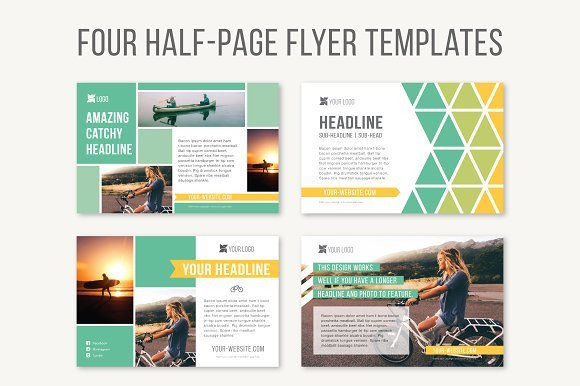 Half Page Advertisement Template Four Half Page Flyer Templates Templates On Creative Market