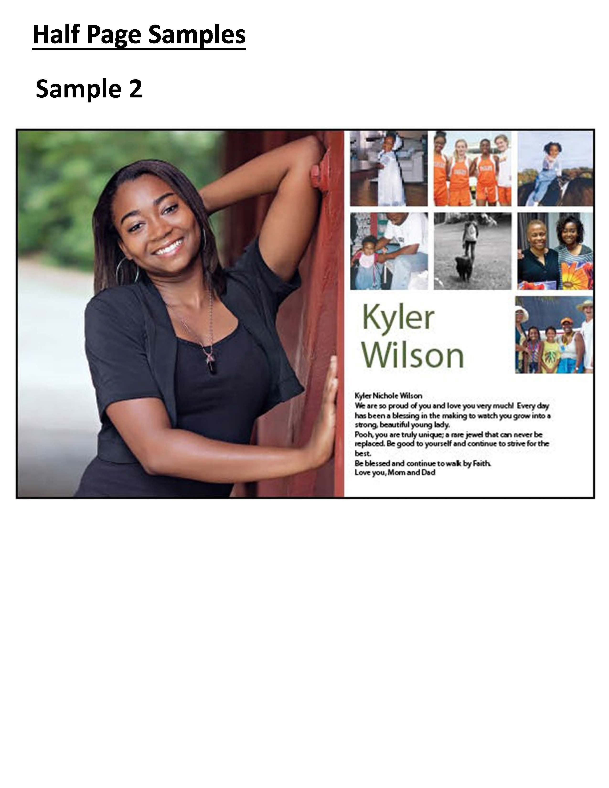 Half Page Advertisement Template Mauldin High School Yearbook Senior Pages