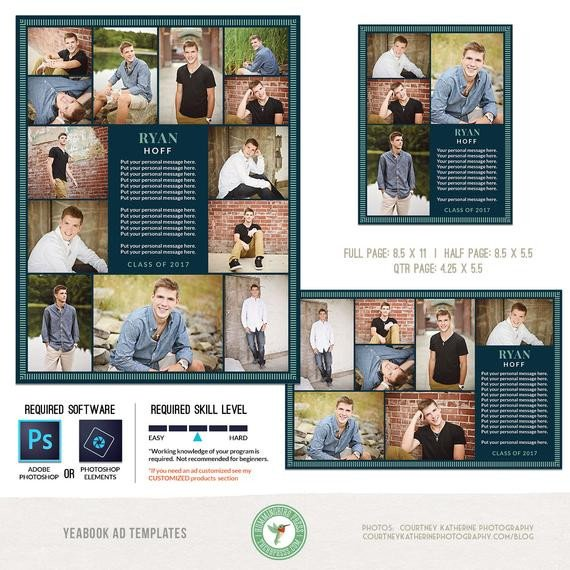 Half Page Advertisement Template Yearbook Ad Templates Senior Ad Graduation Ad High School