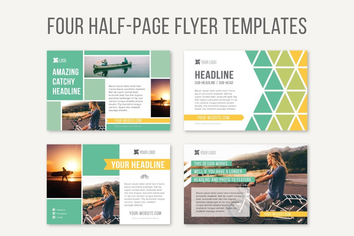 Half Sheet Flyer Template Four Half Page Flyer Templates Templates Creative Market