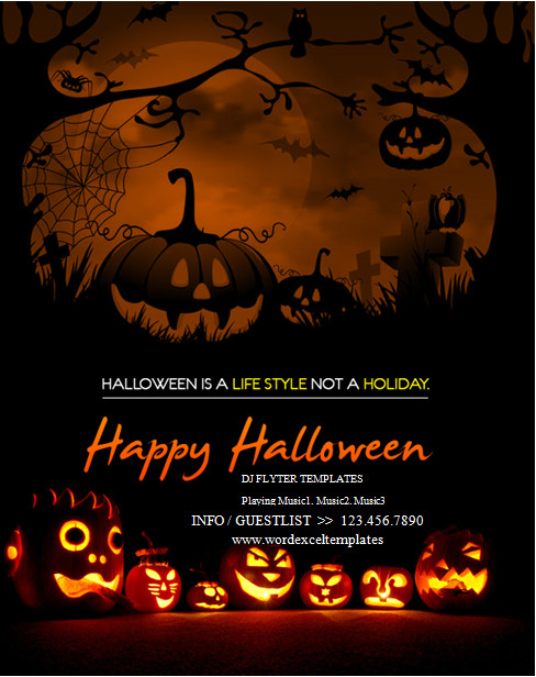 Halloween Flyer Template Free Ms Word Halloween Party Flyer Templates