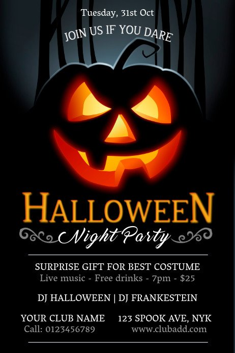 Halloween Flyer Template Free Party Flyers Templates Prints & Downloads