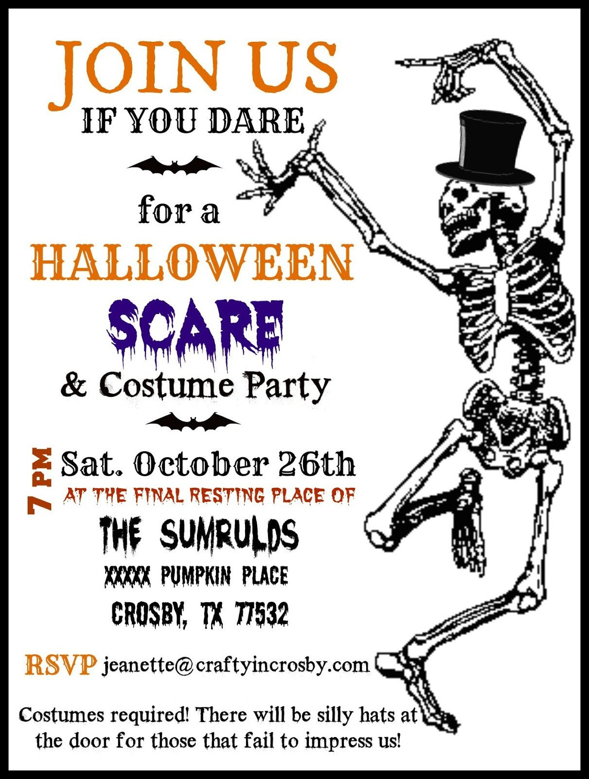 Halloween Party Invitation Template Crafty In Crosby Halloween Party Invitations with Template