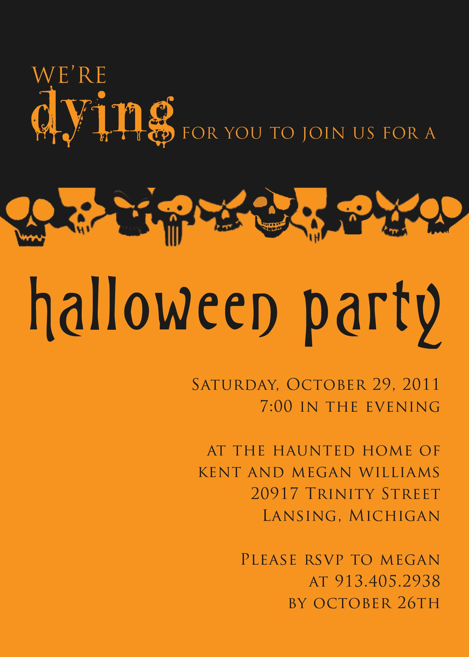 Halloween Party Invitation Template Halloween Party Invitation Templates Free – Festival