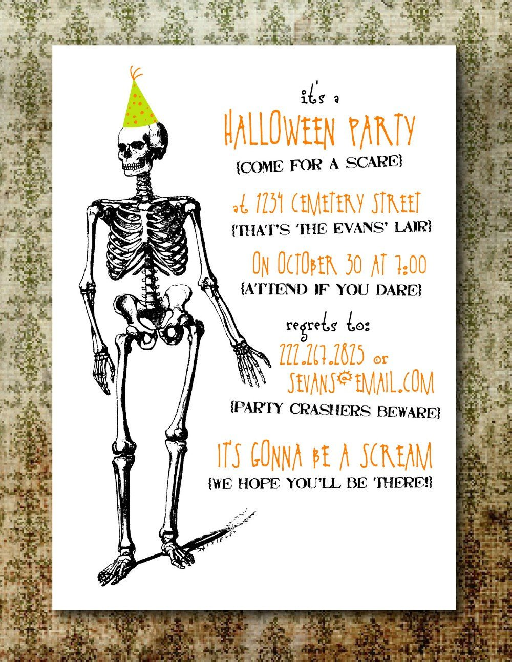 Halloween Party Invitation Template Printable Spooky Halloween Party Invitation
