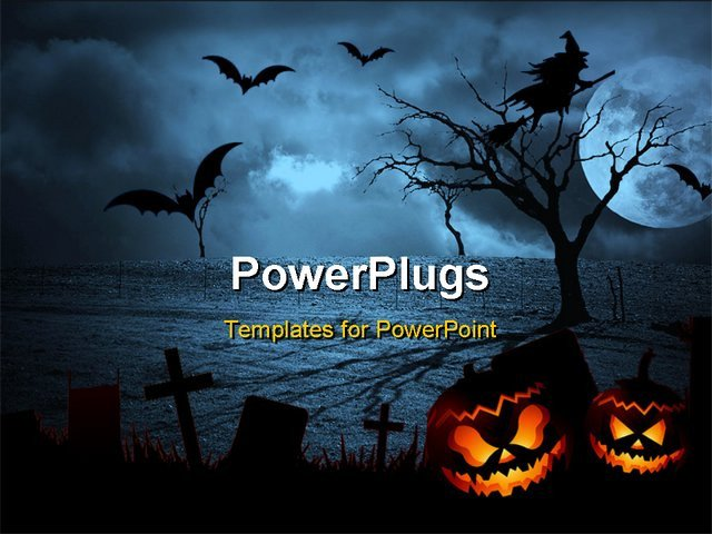 Halloween Power Point Templates Halloween Dark Scenery with Trees Full Moon and