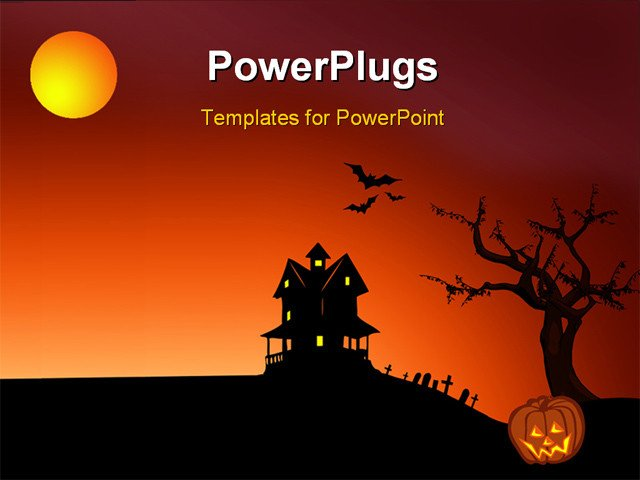 Halloween Power Point Templates Powerpoint Template Halloween Depictions with Haunted