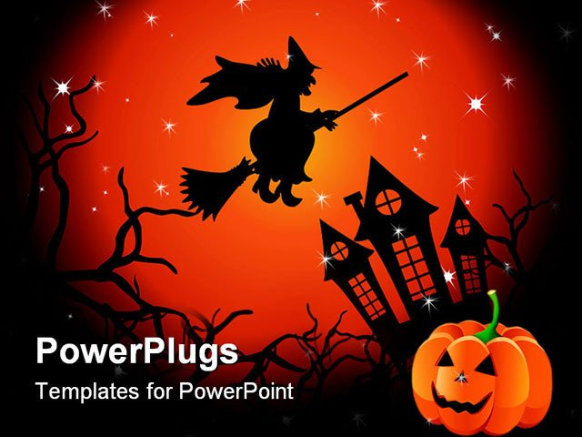 Halloween Power Point Templates Powerpoint Template Halloween Witch Flying Over Haunted