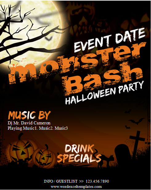 Halloween Templates for Word Ms Word Halloween Party Flyer Templates