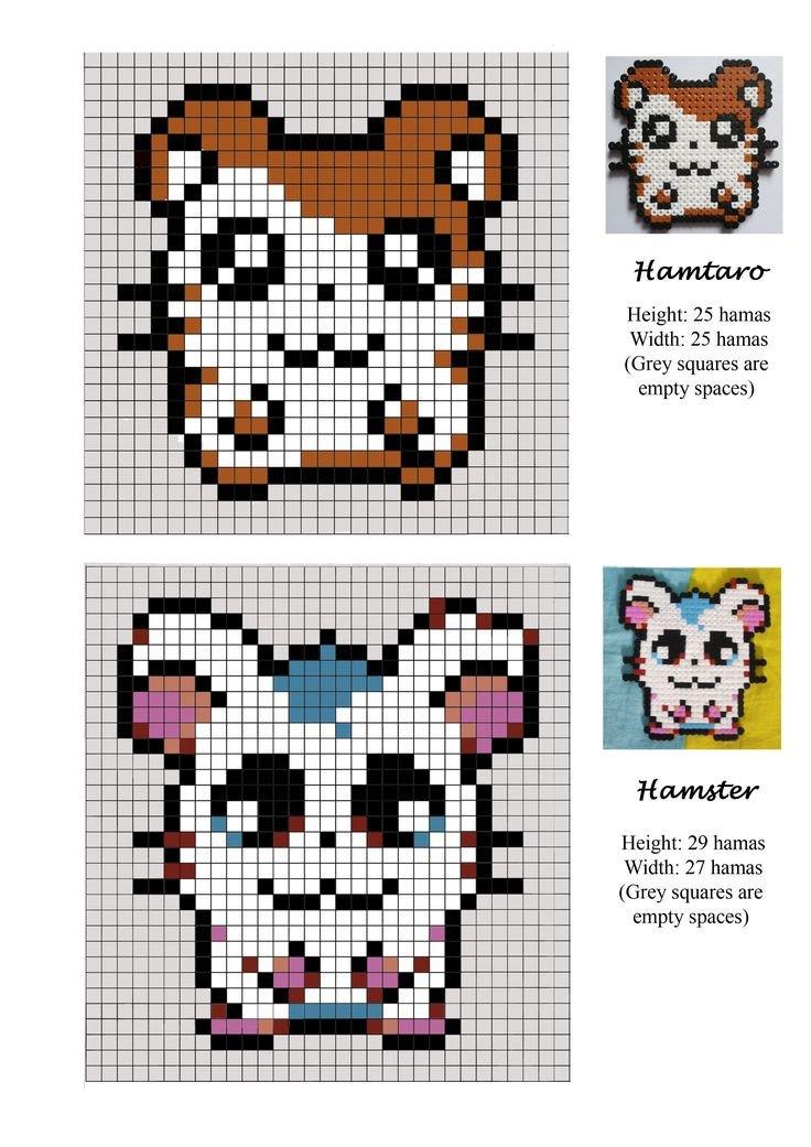 Hamster Pixel Art Hamtaro Hamster Pet Hama Beads Pattern