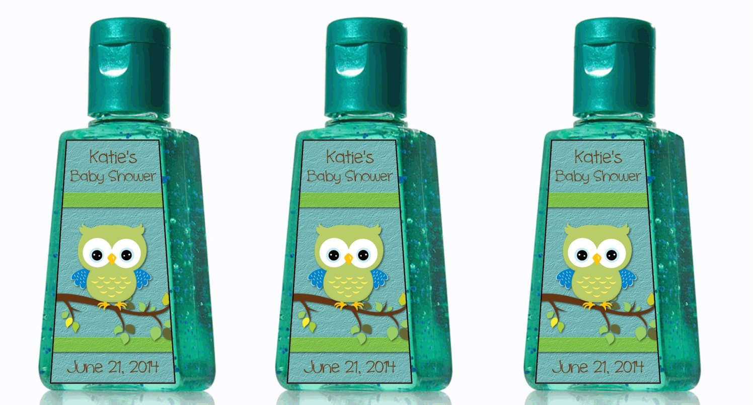 Hand Sanitizer Label Template Free Custom Boy Baby Shower Owl Hand Sanitizer Labels by