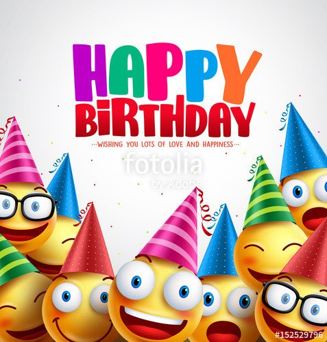 "Happy Birthday 3d Image ""smiley Happy Birthday Greeting Card Colorful Vector"