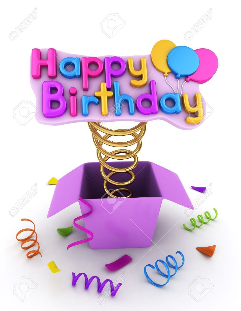 Happy Birthday 3d Images 3d Illustration Of A Gift Box with A Pop Up Happy