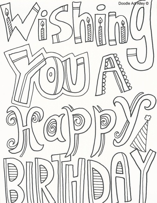 Happy Birthday Coloring Pages Birthday Coloring Pages Doodle Art Alley