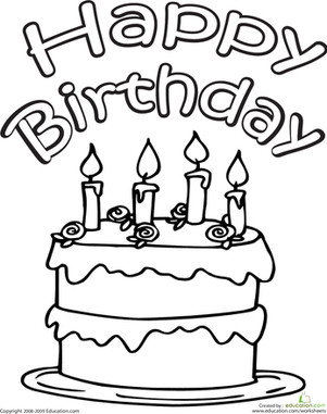 Happy Birthday Coloring Pages Color the Happy Birthday Cake Worksheet