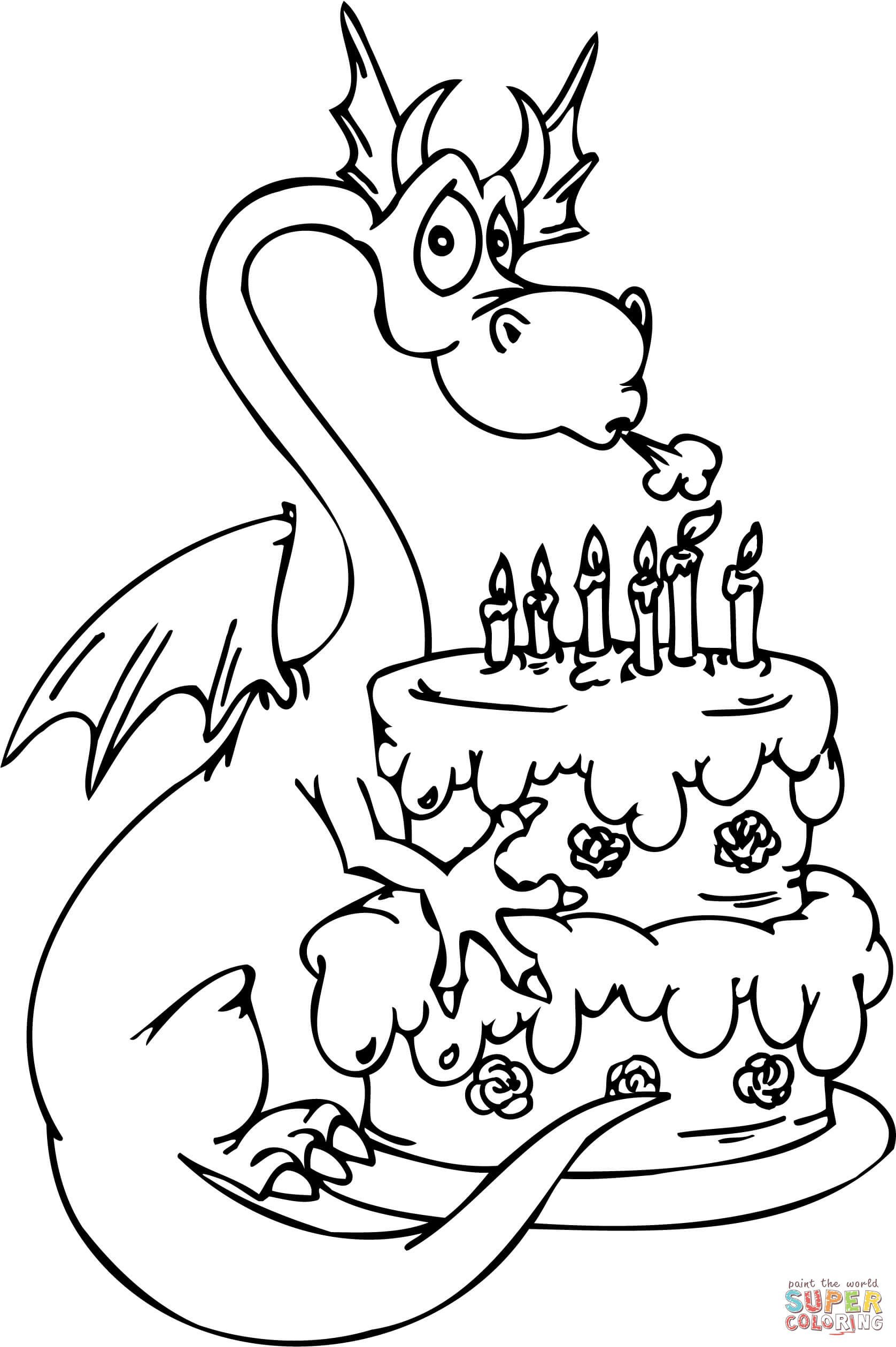 Happy Birthday Coloring Pages Dragon with Happy Birthday Cake Coloring Page