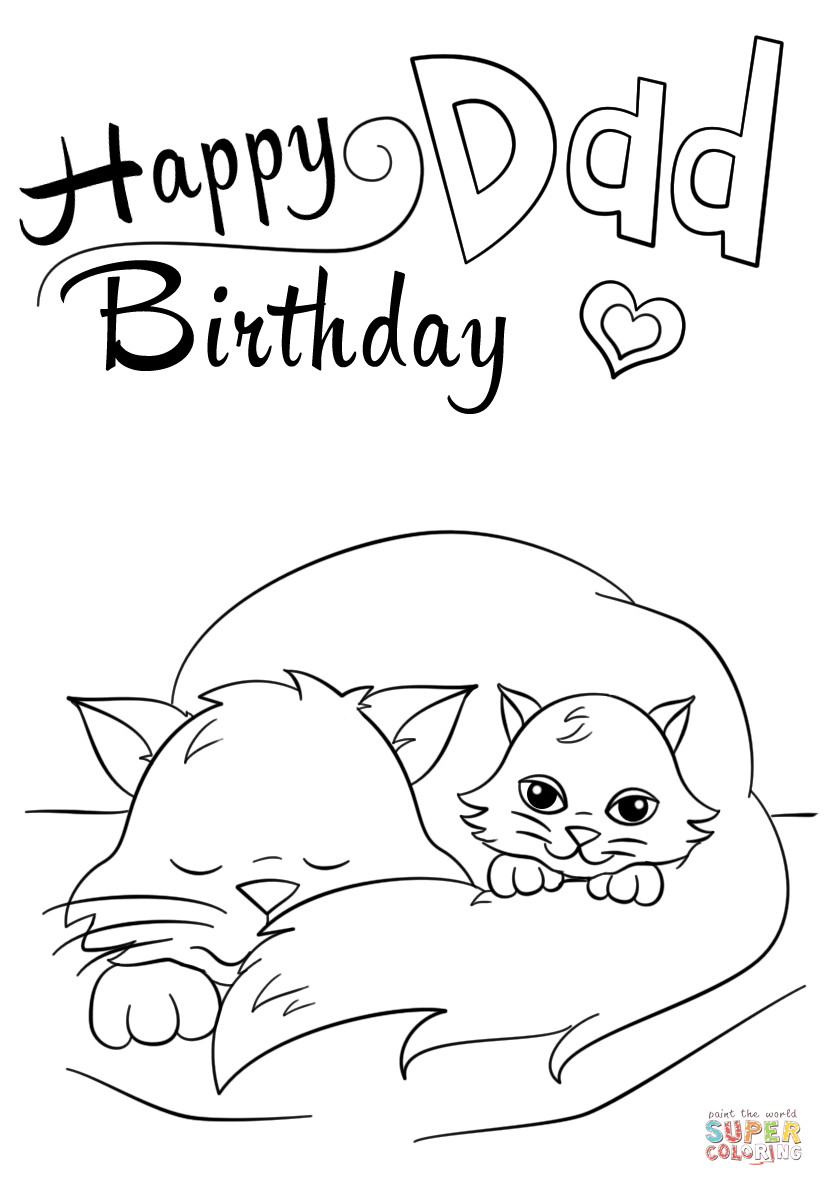 Happy Birthday Coloring Pages Happy Birthday Dad Coloring Page